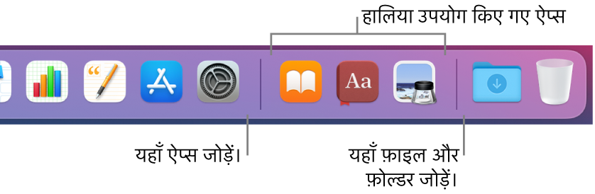 Dock का एक हिस्सा, ऐप्स, हाल में प्रयुक्त ऐप्स तथा फ़ाइलों तथा फोल्डरों के बीच की सेपरेटर लाइनों को दिखाता है।