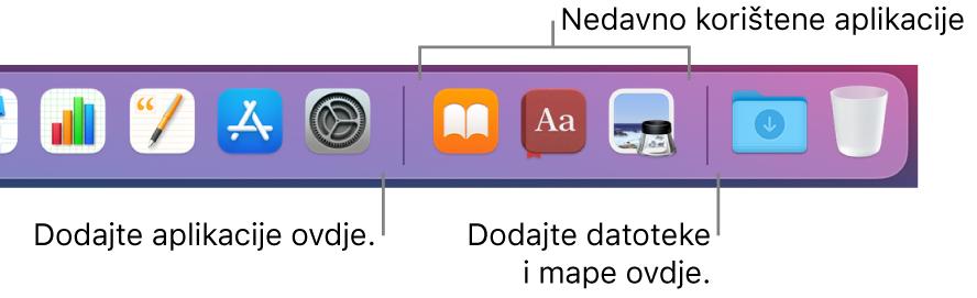 Dio Docka s prikazom linija odvajača između aplikacija, nedavno korištenih aplikacija te datoteka i mapa.