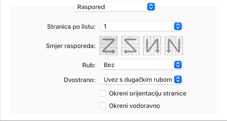 Odabrana je opcija Raspored u skočnom izborniku opcije ispisa, s kućicom Okreni orijentaciju stranice.