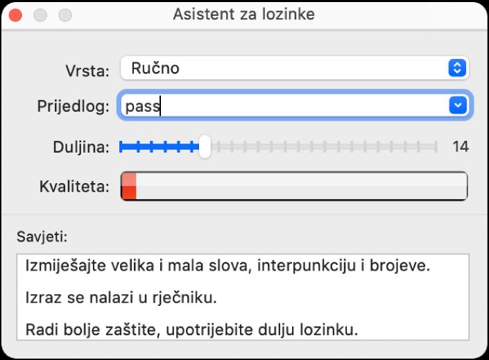 Prozor Asistenta za lozinke s prikazom opcija za izradu lozinke.