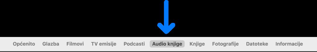 Traka s tipkama u kojoj su odabrane Audio knjige.