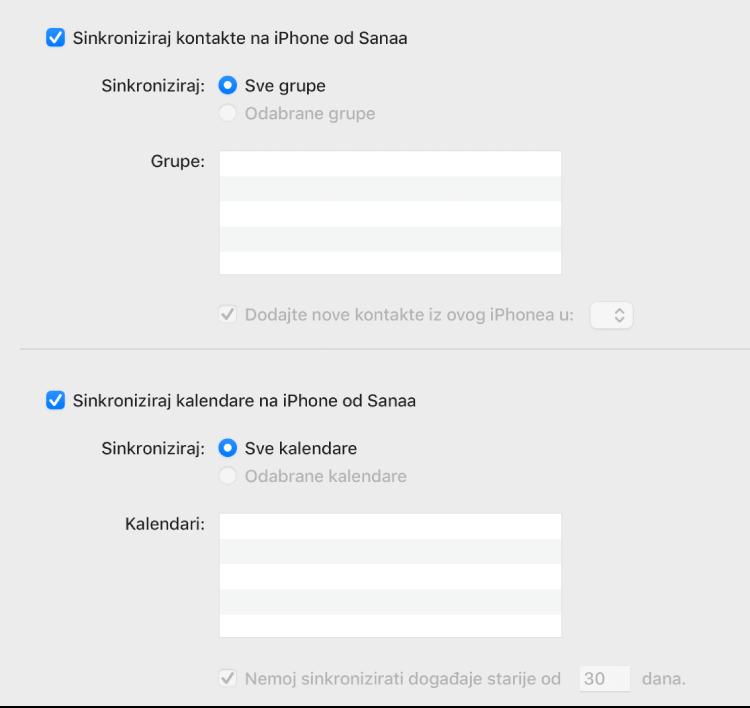 """Opcije sinkroniziranja Informacija s prikazom kvadratića """"Sinkroniziraj kontakte na uređaj"""" i """"Sinkroniziraj kalendare na uređaj"""" i opcija za odabir grupa kontakata i odabir kalendara."""
