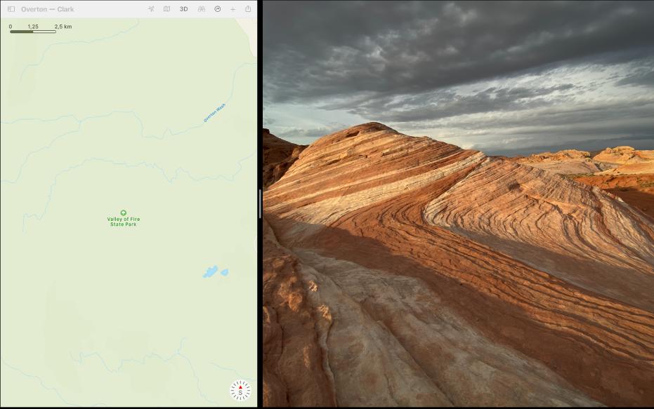 Dvije aplikacije jedna do druge u prikazu Split View.