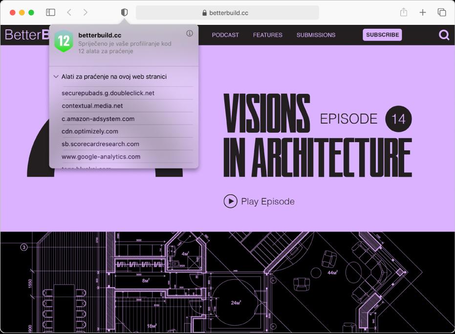 Prozor aplikacije Safari s prikazom Izvješća o privatnosti.