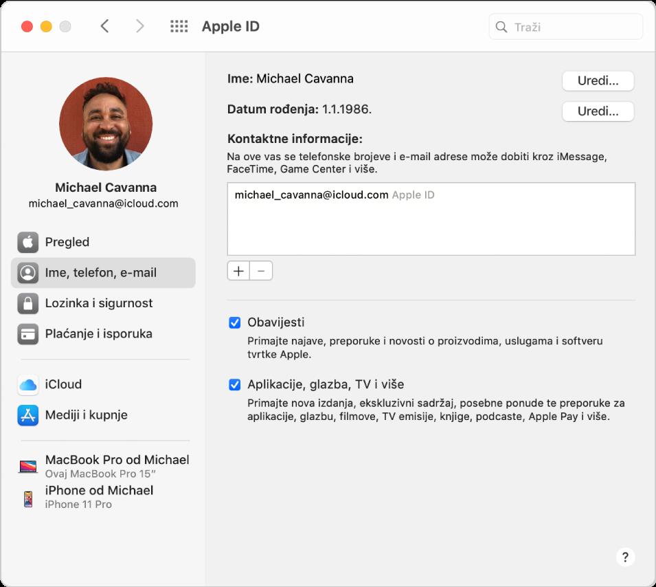 Postavke Apple ID računa s prikazom rubnog stupca s različitim vrstama opcija računa koje možete koristiti te postavke za Ime, Telefon i E-mail za postojeći račun.