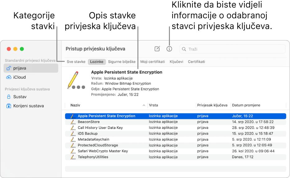 Prozor aplikacije Pristup privjesku ključeva koji prikazuje privjeske ključeva u rubnom stupcu. S desne je strane prikazan opis odabrane lozinke iz privjeska ključeva.
