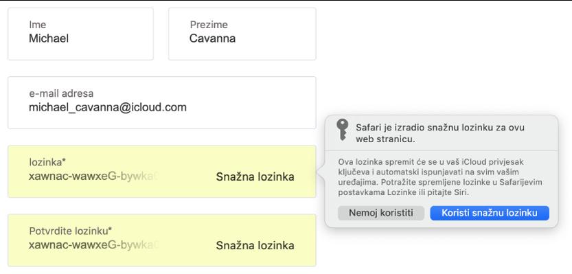 Dijaloški okvir prikazuje da je Safari izradio snažnu lozinku internetske stranice koja će se spremiti u korisnikov iCloud privjesak ključeva te će biti dostupna za Auto ispunu na korisnikovim uređajima.