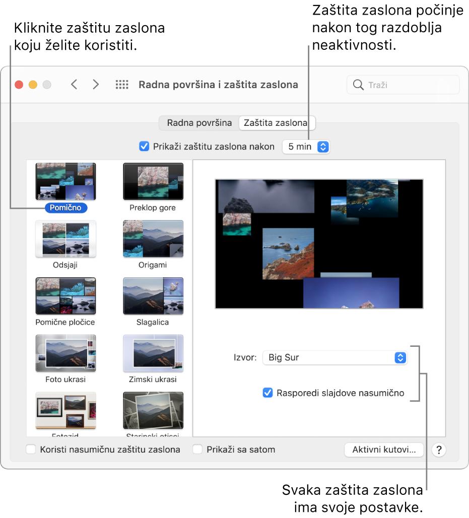 Prozor Zaštita zaslona u Postavkama sustava.