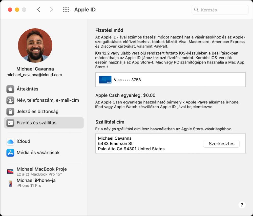 Apple ID beállítások, amelyek oldalsávján a különböző típusú fiókbeállítások és a meglévő fiók Fizetés és szállítás beállításai láthatók.