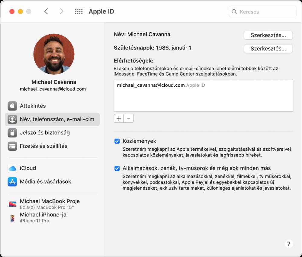 Apple ID beállítások, amelyek oldalsávján a különböző típusú fiókbeállítások és a meglévő fiók Név, Telefonszám és E-mail beállításai láthatók.