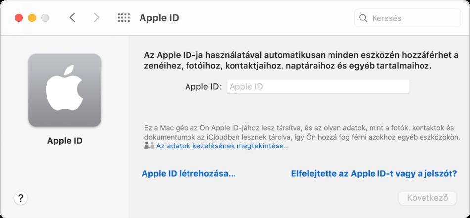 Az Apple ID párbeszédpanel, ahol megadhatja az Apple ID-t. Az Apple ID létrehozása link segítségével új Apple ID-t hozhat létre.