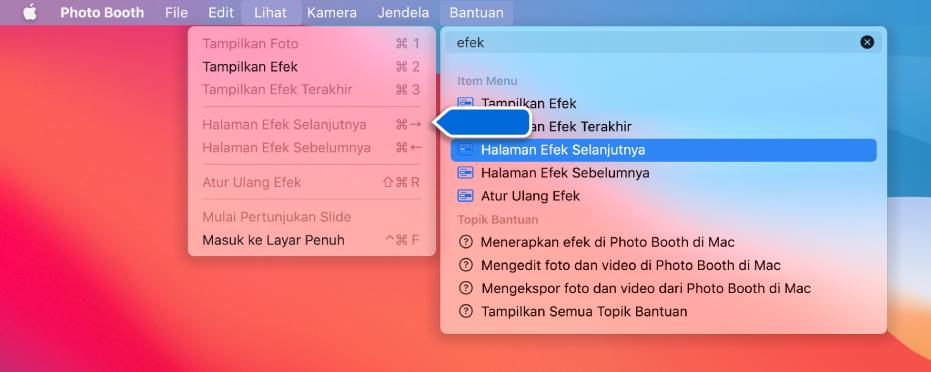 Menu Bantuan Photo Booth dengan hasil pencarian untuk item menu dipilih dan panah menunjuk ke item di menu app.