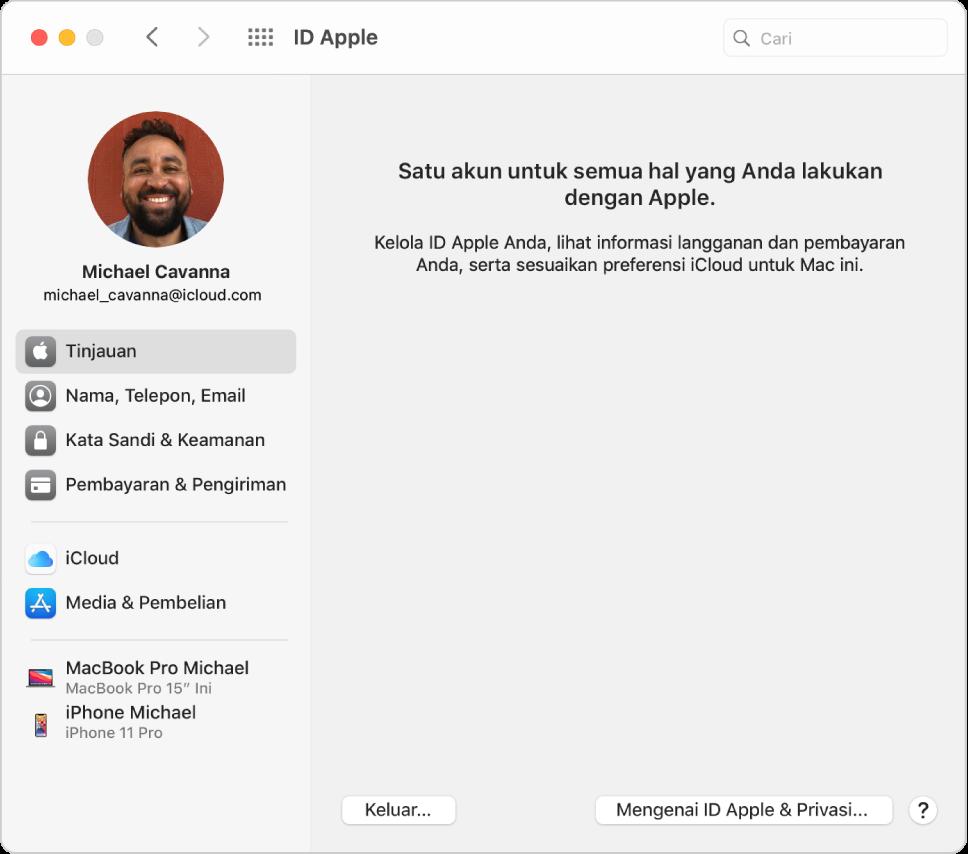 Preferensi ID Apple menampilkan bar samping dari pilihan jenis akun yang berbeda yang dapat Anda gunakan dan preferensi Tinjauan untuk akun yang ada.