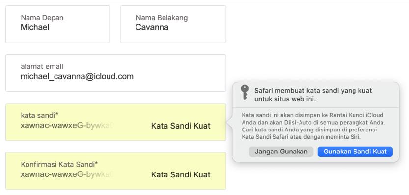 Dialog menampilkan bahwa Safari membuat kata sandi kuat untuk situs web dan bahwa kata sandi akan disimpan di Rantai Kunci iCloud pengguna dan tersedia untuk Isi-Auto di perangkat pengguna.