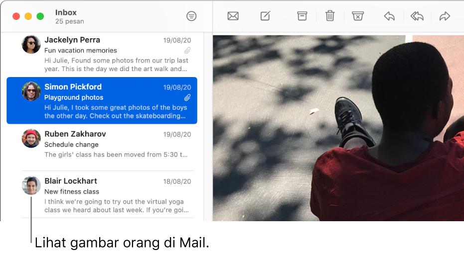Jendela Mail menampilkan daftar pesan dengan gambar pengirim di samping namanya.