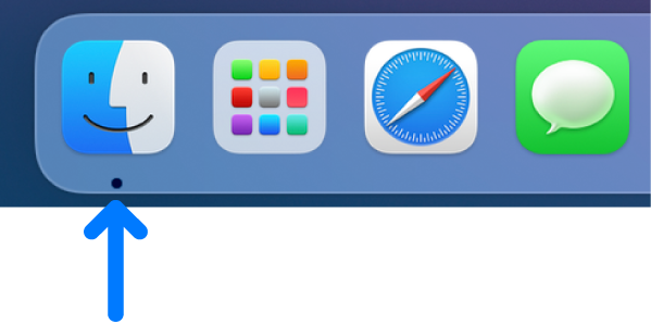Sisi kiri Dock; ikon Finder ada di ujung kiri.