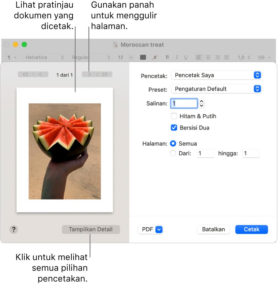 Dialog Cetak menampilkan pratinjau pekerjaan mencetak. Klik tombol Tampilkan Detail untuk melihat semua pilihan cetak.