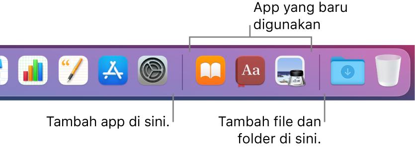 Ujung kanan Dock menampilkan garis pemisah di sebelah kanan bagian app yang sering digunakan.