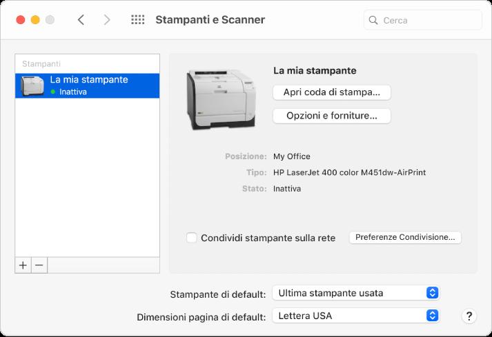 """La finestra di dialogo """"Stampanti e scanner"""" mostra le opzioni per impostare una stampante e un elenco di stampanti con i pulsante Aggiungi e Rimuovi per aggiungere e rimuovere le stampanti nella parte inferiore."""