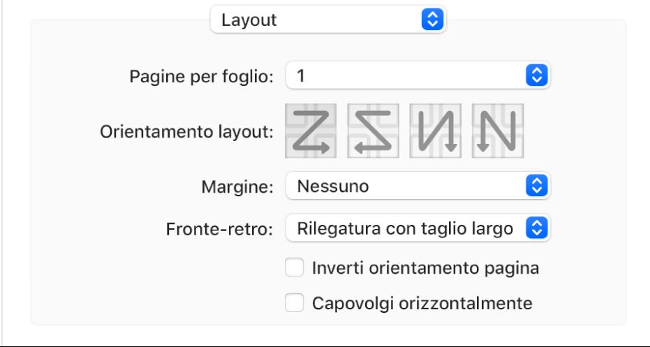 L'opzione Layout scelta nel menu a comparsa delle opzioni di stampa, con il riquadro dell'orientamento di pagina Inverti.