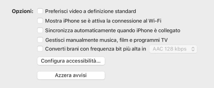 """Le opzioni di sincronizzazione vengono visualizzate in un elenco di riquadri, che includono """"Preferisci video a definizione standard"""" e """"Converti brani con frequenza bit più alta a"""""""