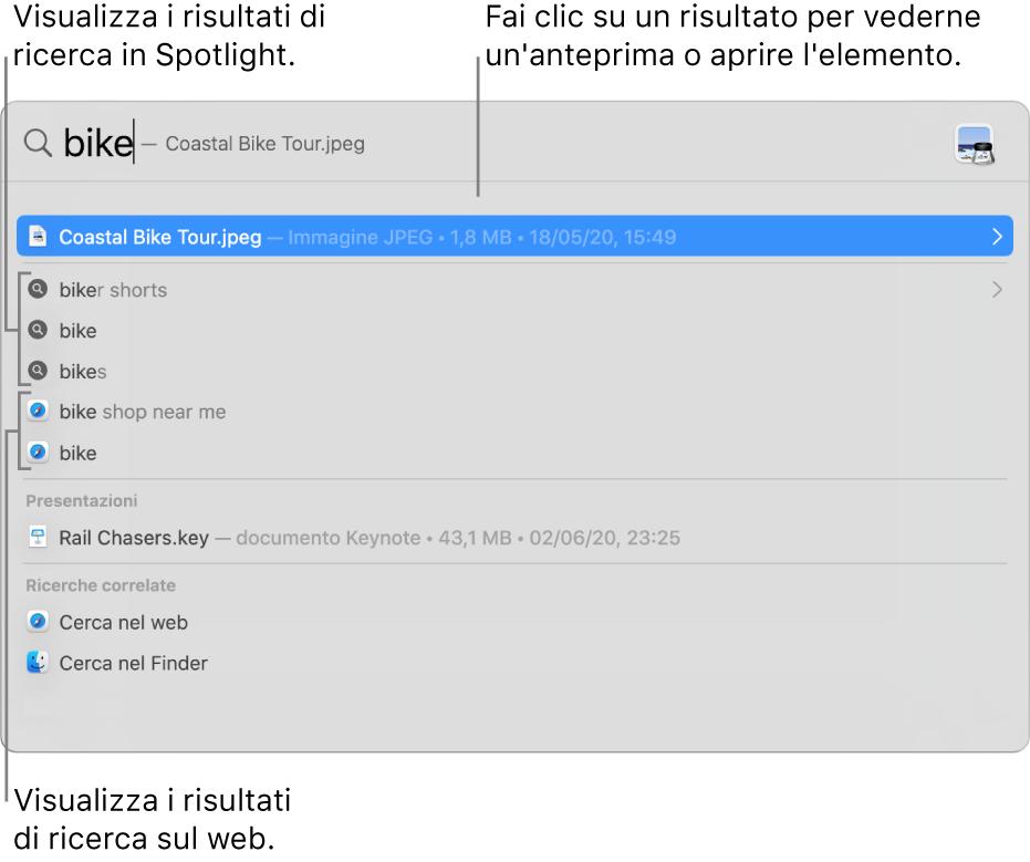 La finestra di Spotlight che mostra il testo di ricerca nel campo di ricerca nella parte superiore della finestra e i risultati di seguito.