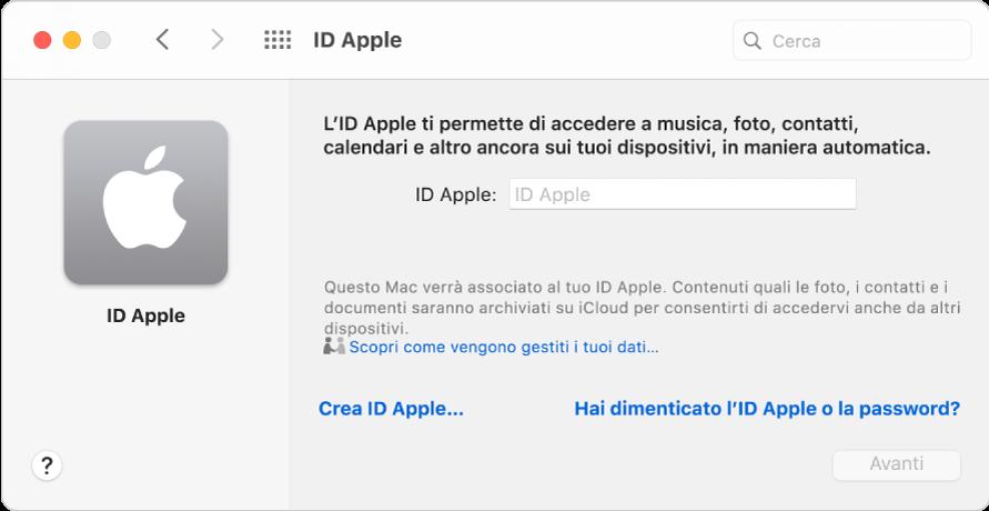 """Finestra di dialogo ID Apple, pronta per l'inserimento di un ID Apple. Un link """"Crea ID Apple"""" consente di creare un nuovo ID Apple."""