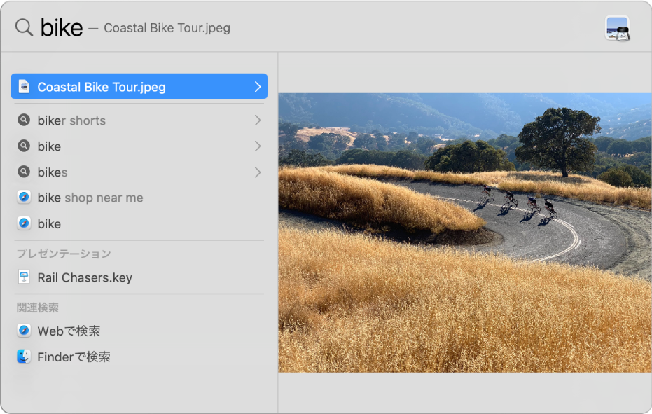 Spotlightウインドウ。ウインドウ上部の検索フィールドに検索テキストが表示され、下の左側に検索結果、右側にトップヒットのプレビューが表示されています。