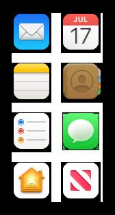 メール、カレンダー、メモ、連絡先、リマインダー、メッセージ、Home、およびNewsのアイコン