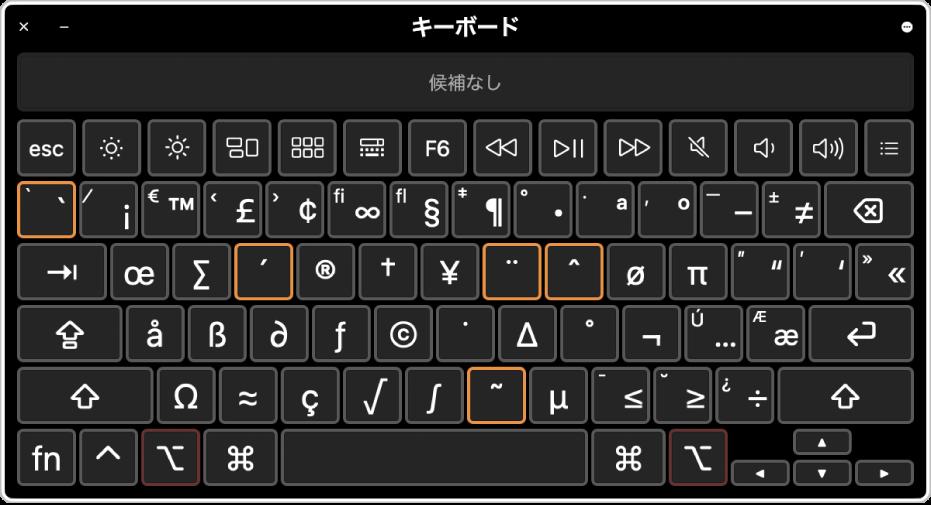 ABCキーボードレイアウトでのキーボードビューア。5つのデッドキーが強調表示されています。