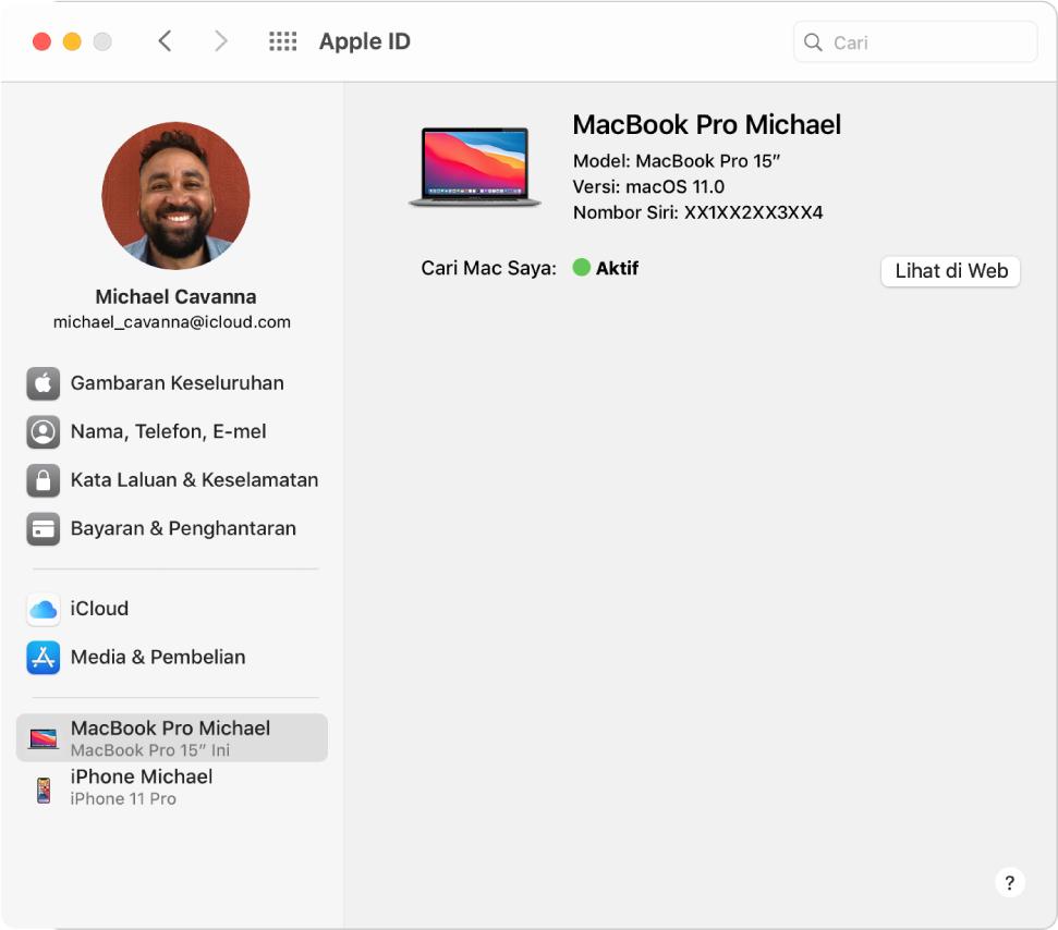 Keutamaan Apple ID menunjukkan bar sisi jenis pilihan akaun berlainan yang anda boleh gunakan dan senarai Peranti Dipercayai untuk akaun sedia ada.