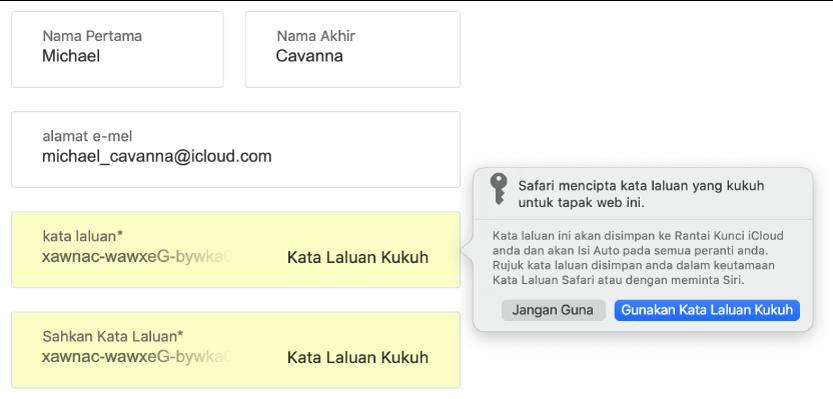 Dialog menunjukkan yang Safari mencipta kata laluan kukuh untuk tapak web dan ia akan disimpan dalam Rantai Kunci iCloud pengguna dan tersedia untuk Isi Auto pada peranti pengguna.