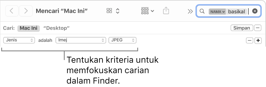 Tetingkap Finder dengan medan untuk menentukan kriteria carian.