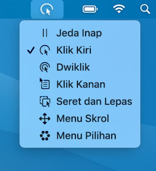 Menu status Inap dengan item menu termasuklah, dari atas ke bawah, Jeda Inap, Klik Kiri, Dwiklik, Klik Kanan, Seret dan Lepas, Menu Skrol dan Menu Pilihan.