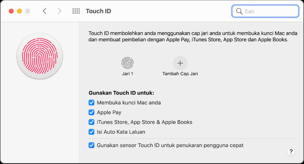 Anak tetingkap keutamaan TouchID menunjukkan cap jari sedia dan boleh digunakan untuk membuka kunci Mac.