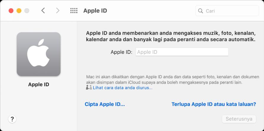 Dialog daftar masuk Apple ID bersedia untuk entri nama dan kata laluan Apple ID.