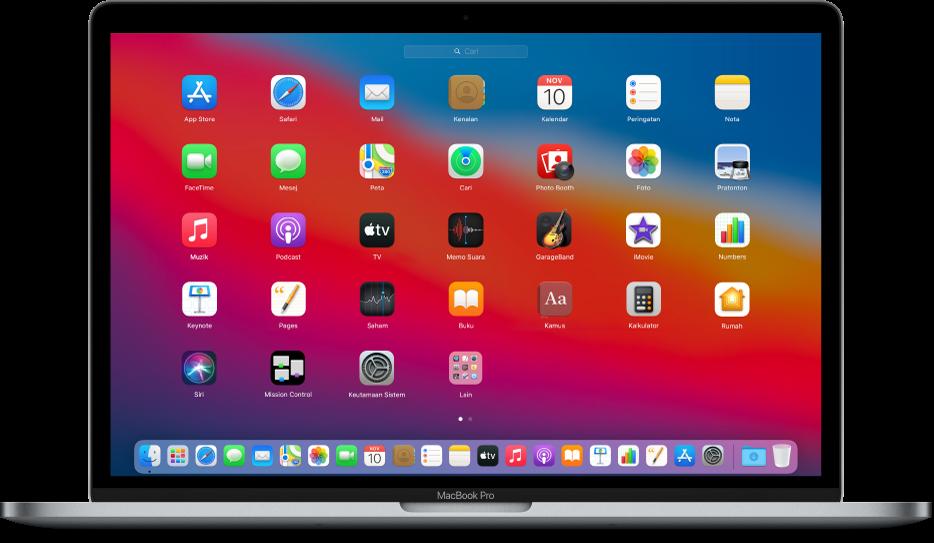 Launchpad menunjukkan ikon app dalam corak grid merentasi skrin Mac.