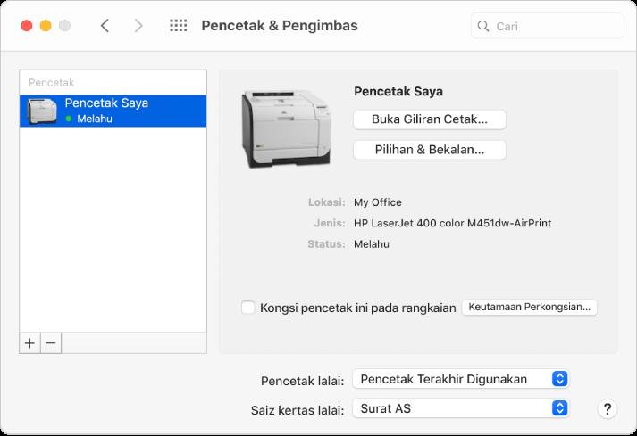 Dialog Pencetak & Pengimbas menunjukkan pilihan untuk menyediakan pencetak dan senarai pencetak dengan butang Tambah dan Keluarkan untuk menambah dan mengeluarkan pencetak di bahagian bawah.