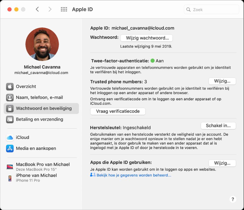 Het paneel 'AppleID' in Systeemvoorkeuren, met een navigatiekolom met daarin verschillende typen accountopties die je kunt gebruiken, en het voorkeurenpaneel 'Wachtwoord en beveiliging' voor een bestaande account.