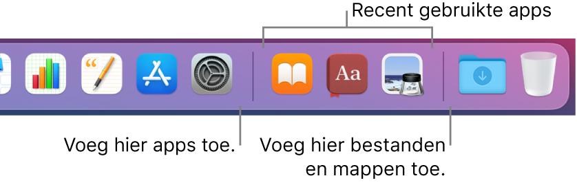 Een gedeelte van het Dock, waarin de scheidingslijnen worden weergegeven tussen apps, recent gebruikte apps en bestanden en mappen.