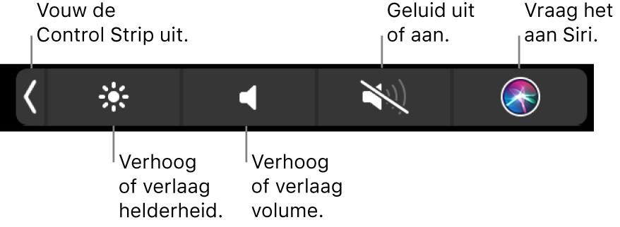 De samengevouwen Control Strip met (van links naar rechts) knoppen om de Control Strip uit te vouwen, de helderheid en het volume aan te passen, het geluid te dempen of in te schakelen en Siri een vraag te stellen.