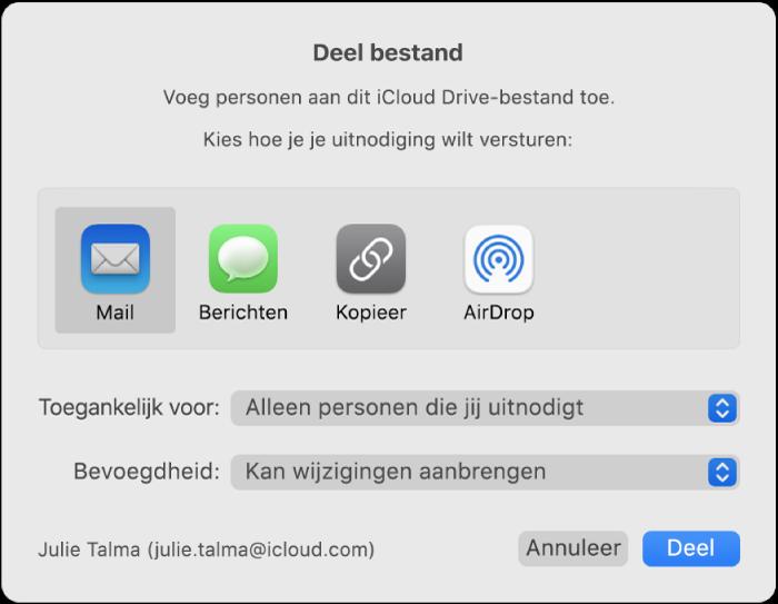 Het venster 'Deel bestand' met apps waarmee je uitnodigingen kunt aanmaken en de opties voor het delen van documenten.