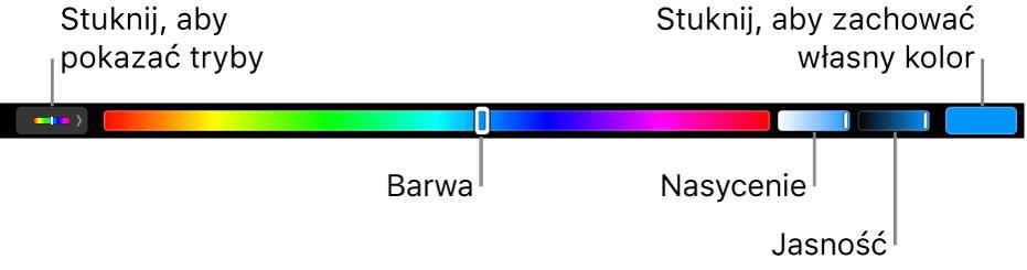 Pasek TouchBar zsuwakami barwy, nasycenia ijasności wtrybie HSB. Po lewej stronie widoczny jest przycisk wyświetlający wszystkie tryby, natomiast po prawej znajduje się przycisk pozwalający na zachowanie własnego koloru.