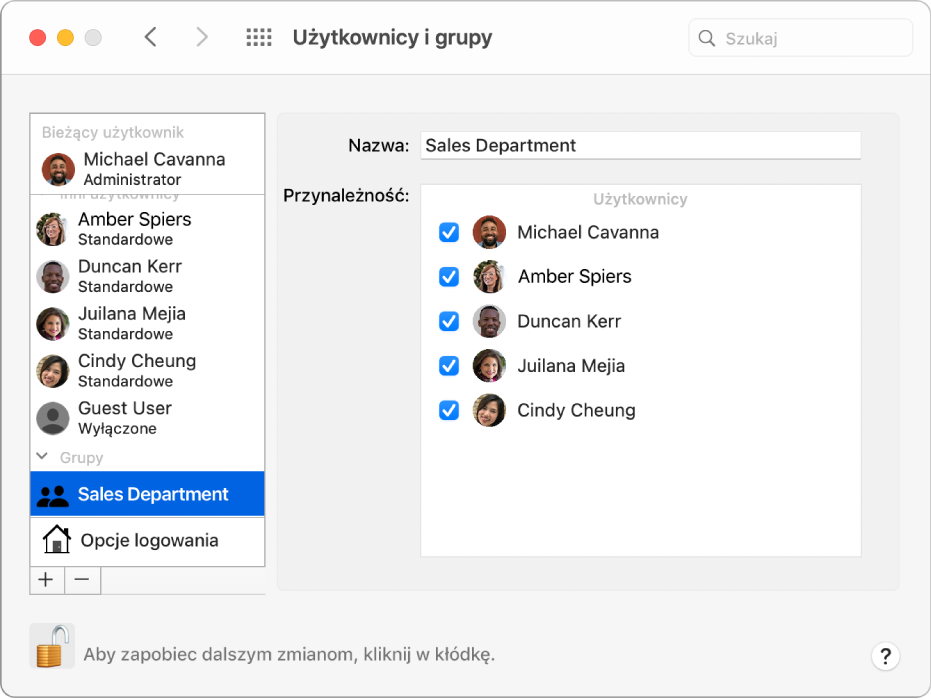 Preferencje użytkowników igrup. Po lewej zaznaczona jest grupa. Po prawej widoczna jest nazwa grupy oraz lista jej członków.