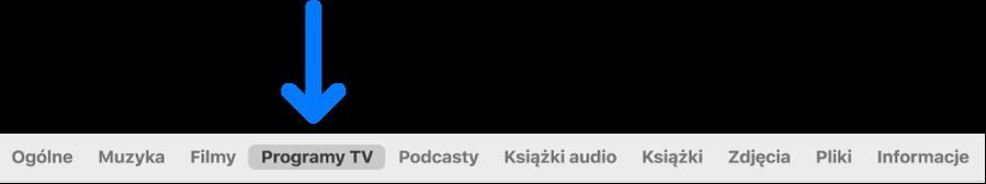Pasek przycisków zzaznaczonym przyciskiem ProgramyTV.