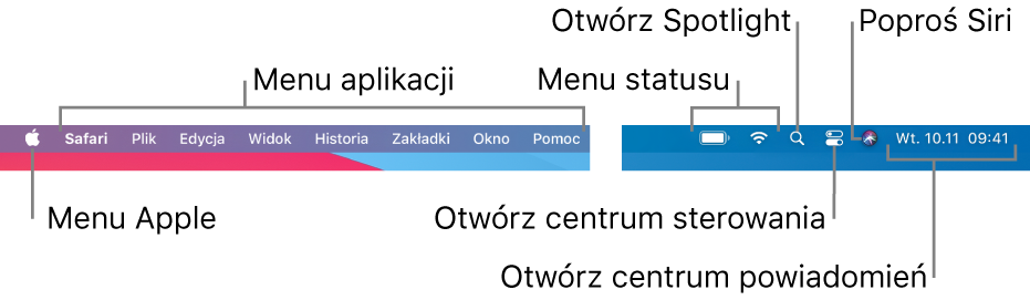 Pasek menu. Po lewej znajduje się menu Apple oraz menu aplikacji. Po prawej umieszczone są menu statusu iikony Spotlight, centrum sterowania, Siri oraz centrum powiadomień.