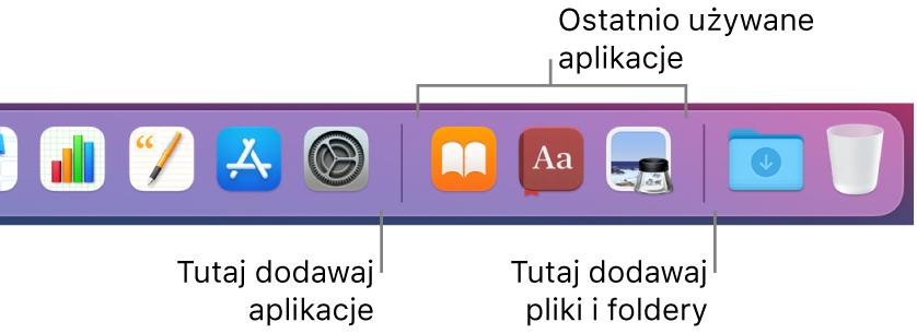 Fragment Docka, zawierający linie oddzielające aplikacje, ostatnio używane aplikacje oraz pliki ifoldery.