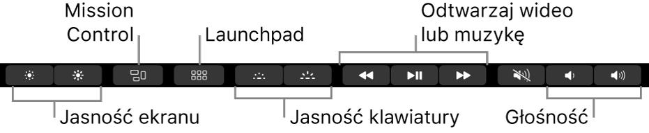 Przyciski na rozwiniętym pasku Control Strip dotyczą (od lewej do prawej) jasności ekranu, funkcji Mission Control, Launchpada, jasności klawiatury, odtwarzania wideo lub muzyki, oraz głośności.