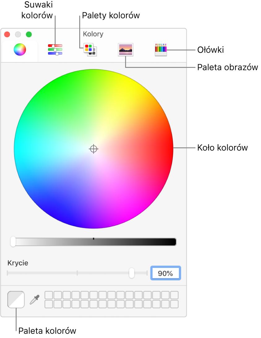 Okno Kolory. Ugóry okna znajduje się pasek narzędzi zprzyciskami suwaków koloru, palet kolorów, palet obrazków iołówków. Na środku okna wyświetlane jest koło kolorów. Po lewej stronie znajduje się pole koloru.