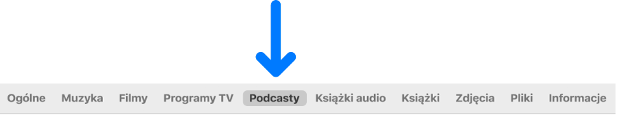 Pasek przycisków zzaznaczonym przyciskiem Podcasty.